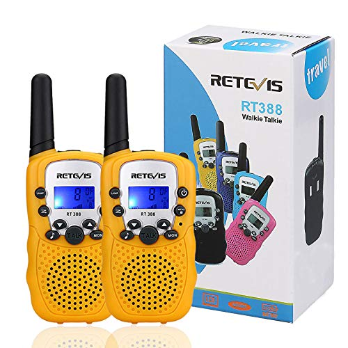Retevis RT-388 Walkie Talkies for Kids,22 Channels Crystal Sound Two Way Radio Kids Toys with Flashlight,Birthday Gifts for 4-12 Year Old Boys Character Walkie Talkies (Yellow,1 Pair)
