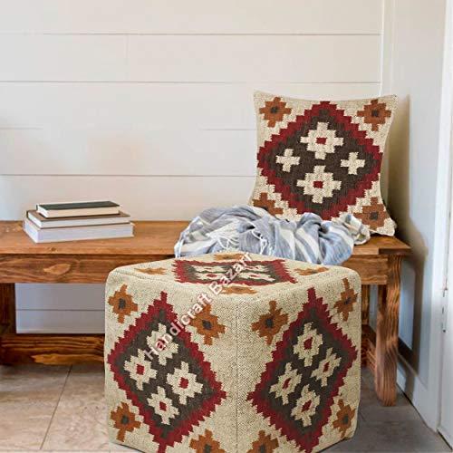 Handicraft Bazarr Funda de almohada otomana de yute para reposapiés de 45,7 cm, diseño geométrico Kilim, de lana y yute, funda de cojín de lana y yute