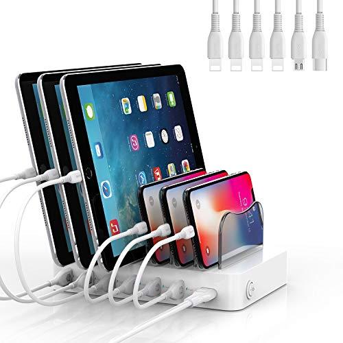 SooPii Stazione di Ricarica USB a 6 Porte Organizer per più Dispositivi, 6 Cavi di Ricarica Inclusi, per Telefoni, Tablet e Altri Dispositivi Elettronici