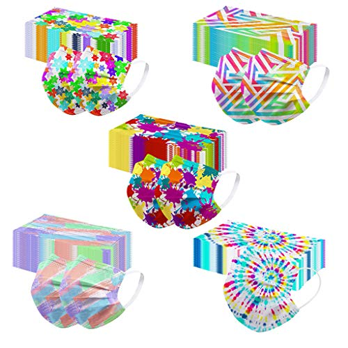 Print Pattern Disposable Face Mask for Adults Coronɑvịrus Protectịon Fashion Tie Dye Paper Mask Dust Breathable 3ply (50 Pcs, Tie Dye)
