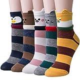 Chalier 5 Paar Damen Baumwolle Socken mit Lustiger Tiere Malerei Kurz Lässige Mädchen Socken (Stil...