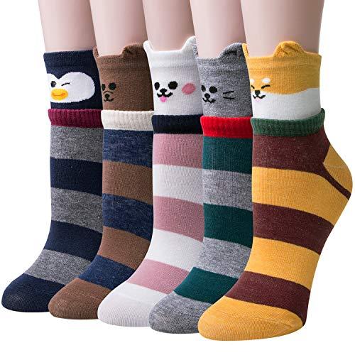 Chalier 5 Paar Damen Baumwolle Socken mit Lustiger Tiere Malerei Kurz Lässige Mädchen Socken (Stil 09)