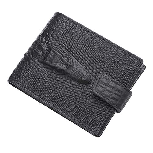 Fashion Crocodile Wallet Leather Purse Mens Wallets Brand Luxury Male Money Crazy Horse Purses, The Best Gift for Men,Black