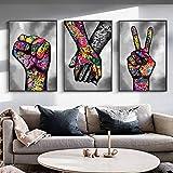 MKWDBBNM Graffiti Victory Sign of Aliento y vítores Posters e Impresiones Pinturas en Lienzo Cuadros artísticos de Pared para decoración de Sala de Estar | 30x45cmx3 Sin Marco