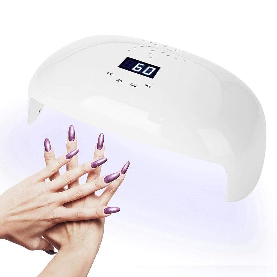 スツール上昇に向けて出発UVライト72W UV LED ネイルライト高速硬化ジェルネイルライト赤外線検知 自動センサー 3段階タイマー設定 (白)