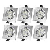 Bojim Regulable Foco Empotrable Blanco Natural 4500K LED GU10, Paquete de 6, 6W Equivalente a Halogeno 54W, Basculación 30° Ángulo de Visión 120, 600LM 230V 82Ra IP20, No Ignífugo