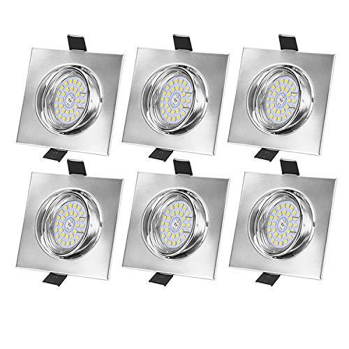 Bojim LED Einbaustrahler Dimmbar GU10 ohne Dimmer, 6er Set 6W Warmweiß 2800K Schwenkbar Einbauleuchten 82RA 230v Quadratischer LED Spot 600LM Deckenspots Einbaulampen 120° Abstrahlwinkel Einbauspots