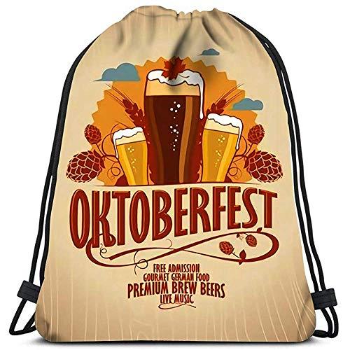 Medsforu Kordelzug Taschen Rucksack Oktoberfest Biergläser Auf Retro-Stil Holz Hintergrund Reisen Sporttaschen Rucksack Umhängetaschen