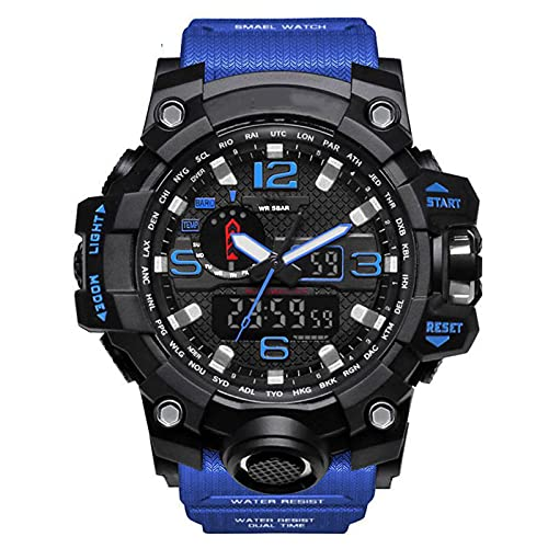 WNGJ Relojes Anti-otoño de Moda al Aire Libre, cronógrafo Deportivo Reloj de Hombre electrónicos de Doble Pantalla, Reloj de Pantalla multifunción Impermeable Luminosa Blue