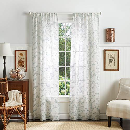 "MARTHA STEWART Eucalyptus Semi-Sheer Rod Pocket Window Curtain Panel Pair, 84"", Aqua"