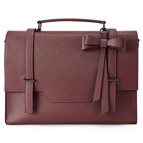 ECOSUSI Women Briefcase PU Leather Laptop Bag for 15.6 inch Ladies Satchel Handbag Vintage Messenger Bag Womens Shoulder Bag Work Bag (M, Red)
