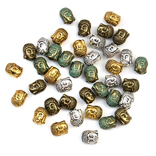 AUEAR, 40 Pack Metal Buddha Head Beads Spacer Beads Connector Charm for Bracelet Jewelry Making