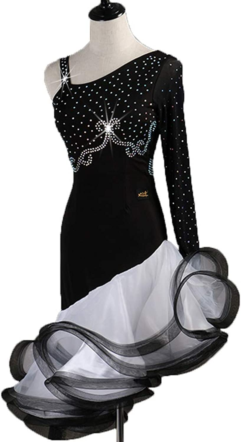 Latin Dance Dresses For Women or Ladies Single Sleeve Fashion Strapless Latin Dance Wear Stage Costume Professional Performance Costume