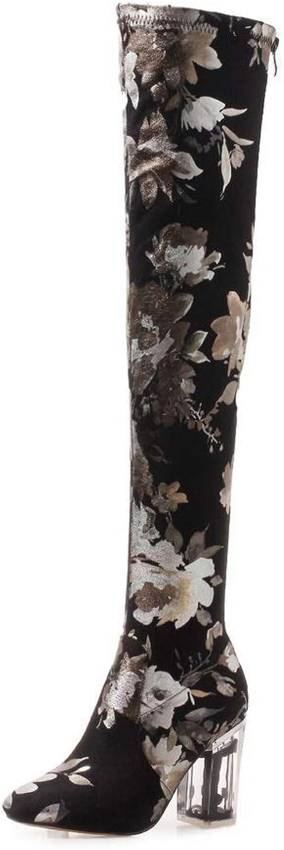 AdeeSu Womens Dress High-Heel High-Top Microsuede Boots SXE05143
