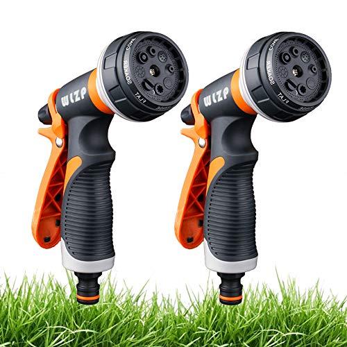 2 Pack Pistola de riego, Pistola de agua de jardín con 8 modos de ajustable pulverización - Rociador de mano de alta presión para regar el césped, lavado de autos, baño de mascotas, limpieza de acera