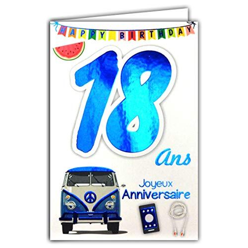 69-2118 Carte Joyeux Anniversaire 18 ans Garçon Jeune Homme Adulte - Majorité Majeur Permis B Conduire Voiture
