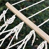 Dongbin Netzhängematte Camping Reise Schlafen Garten Reisebett Baumwollseil Verstärkung Mit Holzstab Doppelaußenschaukel Tragkraft,Gelb - 2