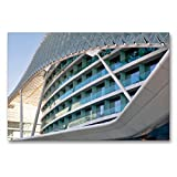 CALVENDO Premium Textil-Leinwand 90 x 60 cm Quer-Format Modernes Gebäude an der Formel 1 - Rennstrecke, Leinwanddruck von Pia Thauwald