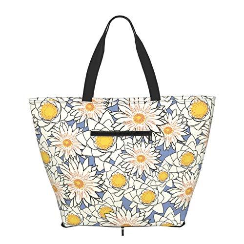 Bolso de hombro con flores plegable para mujeres y niñas, grande, reutilizable, gran bolsa de viaje