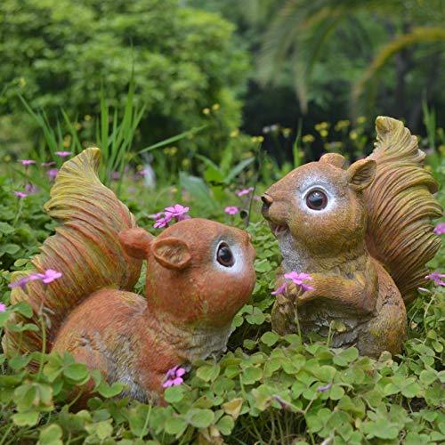 LBYLYH Cadeau d'ornement de décoration de Jardin Entrée Cour Décoration Ornements De Jardin Jardinage Aménagement Paysager Résine Écureuil Animal Statue