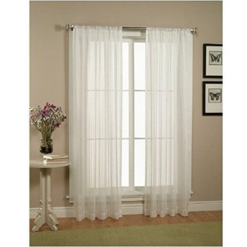 WPM Drape/Panels/Treatment Beautiful Sheer Voile Window Elegance Curtains for Bedroom amp Kitchen 60quot inch x 84quot inch Set of 2 White
