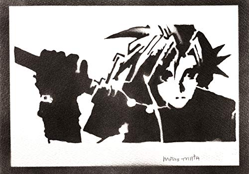 Póster Final Fantasy Cloud Strife Grafiti Hecho a Mano - Handmade Street Art - Artwork