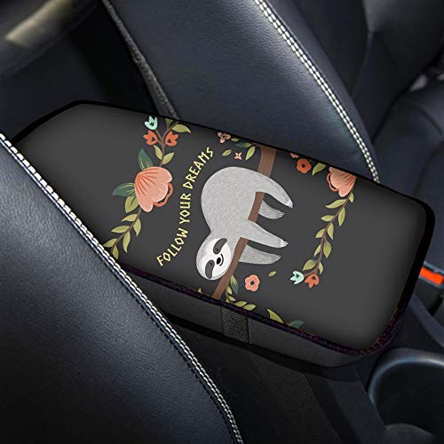 Buybai Sloth Print Universal Car Center Console Armrest Cover Waterproof Auto Arm Rest Cushion Pads Armrest Protector Car Interior Accessories-Follow Your Dreams
