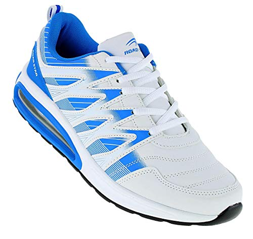Roadstar Neon Turnschuhe Airsoft Sneaker Sportschuhe Herren 121, Schuhgröße:42, Farbe:Weiß/Blau