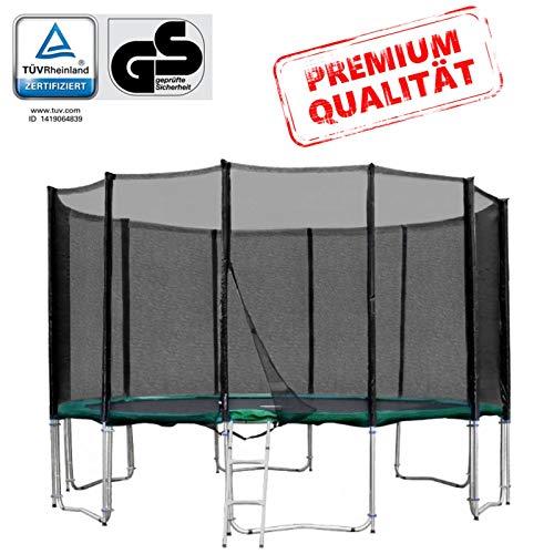 Baunsal GmbH & Co.KG Gartentrampolin Trampolin 396 bis 400 cm in grün mit Sicherheitsnetz und Einstiegsleiter