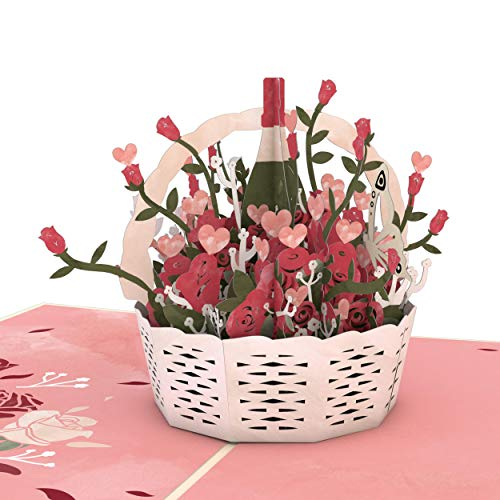 Lovepop Valentine's Basket Pop Up Card - 3D Card, Greeting Card, Valentines Day Card, Anniversary Card, Romance Card, Card for Wife, Card for Mom
