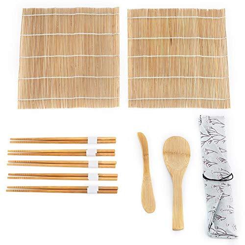 VIFERR 9pcs / Set Bamboo Sushi Making Kit Comprend 2 Tapis Roulant 5 1 Chopsticks Paddle Cuisine & CookingUtensils Outils