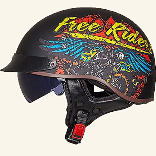 Casco moto Harley, casco jet moto vintage classico aperto con Occhiali, casco mezzo moto e bicicletta per scooter Chopper Casco moto pilota uomo e donna, disponibile in tutte le stagioni B XLLARGE