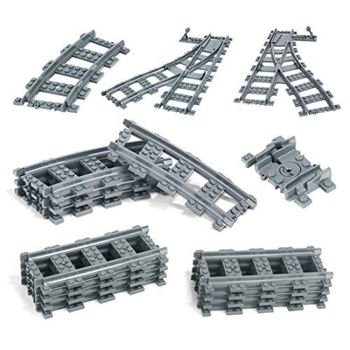 ReallyPow Technik Schienen Set, Schienen für Zug, Schienen Upgrade Set für Lego City Zug - 386 Teilen