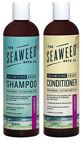 Seaweed Bath Co Volumizing Lavender Organic Natural Shampoo and Conditioner Bundle With Argan Oil, Sustainably Harvested Bladderwrack Seaweed, Aloe Vera & Lavender Essential Oil, 12 fl. oz. each