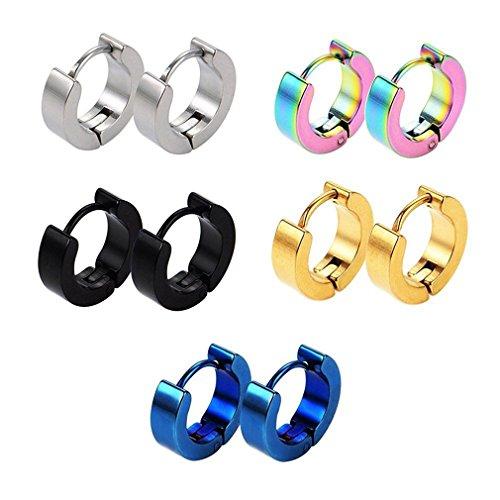 CANVIVI 5 pares de pendientes de clip de acero inoxidable, redondos, multicolor, 9 mm, para hombre y mujer