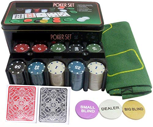 Kakadiya Poker Game Set with Gaming Mat, Chips, Decks, Playing Cards & Tin Box