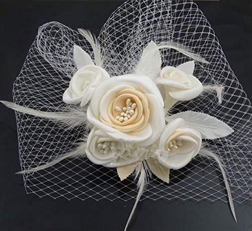 Unique bridal veil pin blush birdcage tulle ivory champagne flower feather wedding veil hat (Color : Champagne)