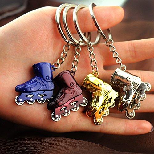 KingbeefLIU Mini Rollschuhe Schlittschuh Anhänger Auto Schlüsselbund Schlüsselringhalter Tasche Ornament Geschenk Klein Süß Und Tasche Hängen Golden