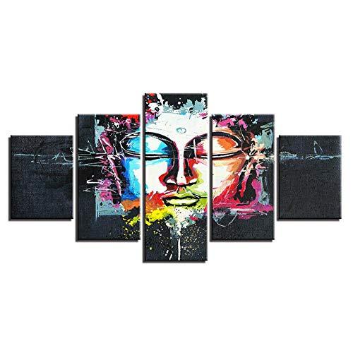 taotaone Leinwand Malerei Wandkunst 5 Drucke Bild gerahmt Kunstwerk Malerei Bild Foto Foto Wohnkultur Wohnzimmer Schlafzimmer abstrakt gemalt Buddha Kopf
