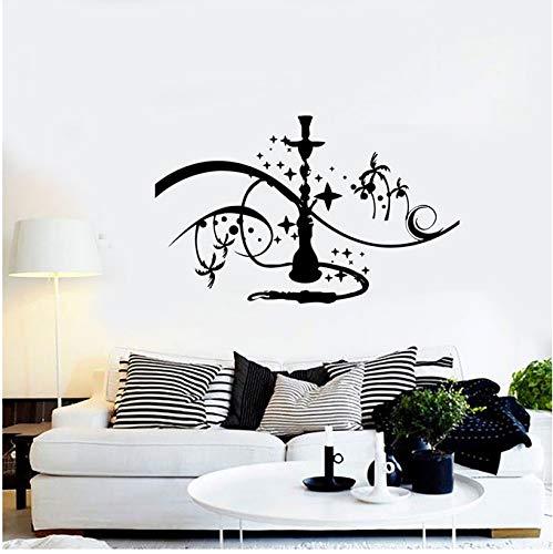 Wasserpfeife Wandaufkleber Wasserpfeife Zeichen Wand Fenster Vinyl Applique Palm Sterne Rauchen zu Hause Schlafzimmer Applique Kunst Wandbild 57x33cm
