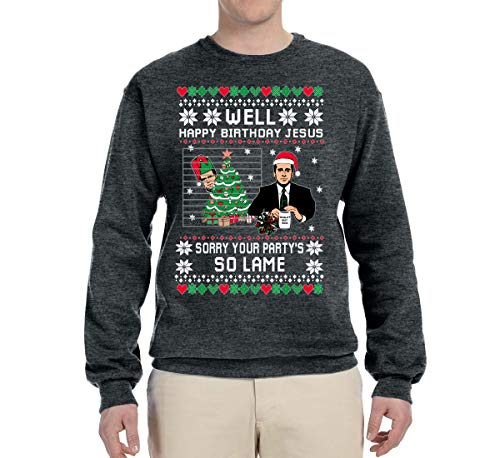 Well Happy Birthday Jesus Funny Quote The Office | Mens Ugly Christmas Sweater Crewneck Graphic Sweatshirt, Heather Black, Large