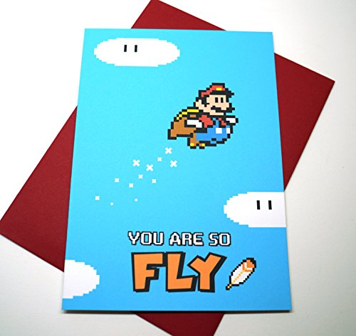 You Are So Fly, Soaring Super Mario Cape Greeting Card : Free Shipping