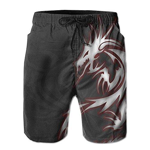 Cool Dragon Tribal Herren Beach Shorts Badehose Casual Sport Print Kurze Hose Jogginghose,XXL