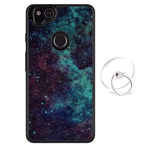 Dynippy Compatible Google Pixel 2 Case Non-Slip Shockproof Protection Plastic Silicone Rubber Hybrid Protective with Transparent Phone Ring Holder - Galaxy Space