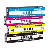 Jagute 970XL 971XL Cartuchos de Tinta de Repuesto para HP 970 971 XL Cartuchos de Tinta para HP Officejet Pro X551dw X451dw X476dw X576dw X451dn X476dn Paquete de 4