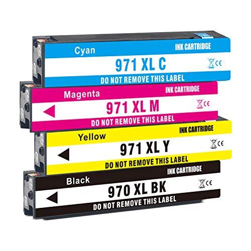 Jagute 970XL 971XL Cartucce Sostituzione per HP 970xl 970 971 XL Cartucce d'inchiostro per HP OfficeJet Pro MFP X576dw X551dw X476dw X476dn X451dw X451dn (1 Nero,1 Ciano,1 Magenta,1 Giallo)