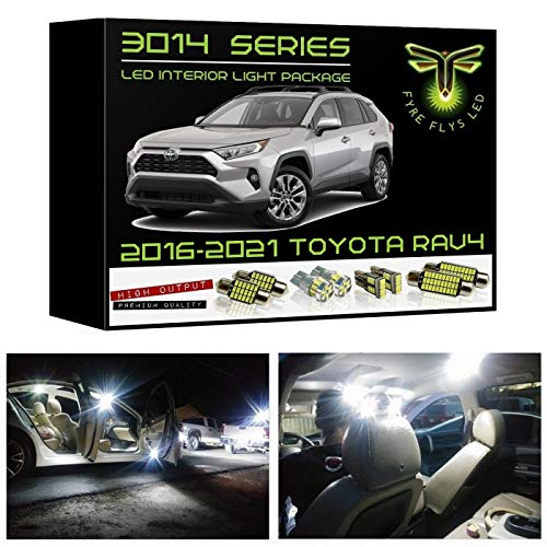 Fyre Flys 8 Piece White LED Interior Lights for 2016-2021 Toyota RAV4 Super Bright 6000K 3014 Series SMD Package Kit and Install Tool