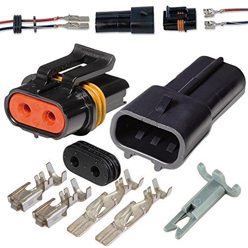 2 Pin Delphi Metri-Pack Waterproof Connector 10-12awg Terminals and Seals 46Amp (10-12 GA (1set))