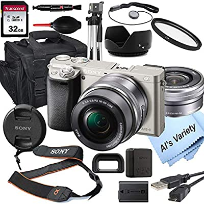 Sony Alpha a6000 (Silver) Mirrorless Digital Camera with 16-50mm Lens+ 32GB Card, Tripod, Case, and More (18pc Bundle) by Sony intl