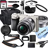 Sony Alpha a6000 (Silver) Mirrorless Digital Camera with 16-50mm Lens + 32GB Card, Tripod, Case, and More (18pc Bundle)